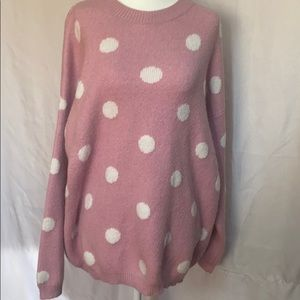 Chelsea And Theodore pink white polka Dot Sweater